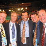 Sen. Kevin Raye, Peter Cianchette, Fr Sen Rick Bennett and Fr Rep. Jim Donnelly pause for a picture in NYC on the convention floor