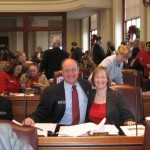 my sister Laura visiting the house during 1st day of session